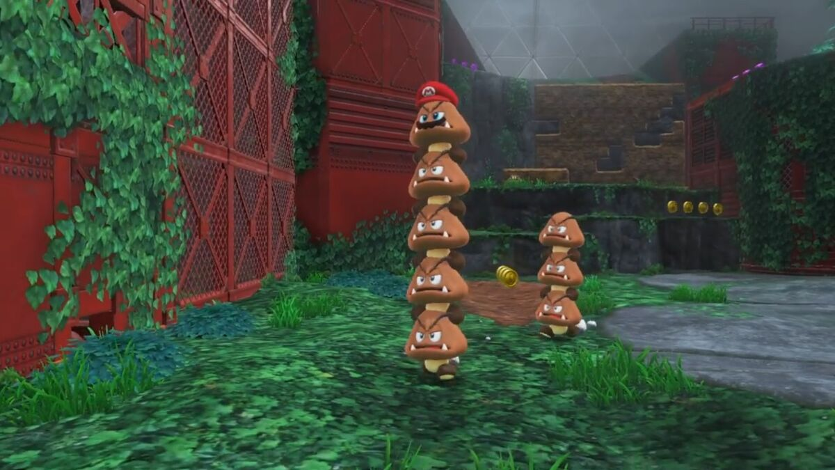 Super Mario builds a super stack of goombas with Cappy