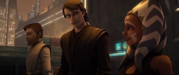 """Star Wars: The Clone Wars, """"Deception"""": Obi-Wan Kenobi, Anakin Skywalker, and Ahsoka Tano"""