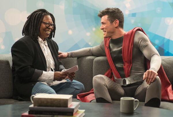 superhero meets Whoopi Goldberg on talk show