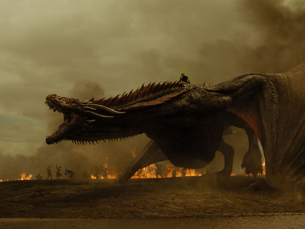 game of thrones season 7 dany rides dragon, army in flames