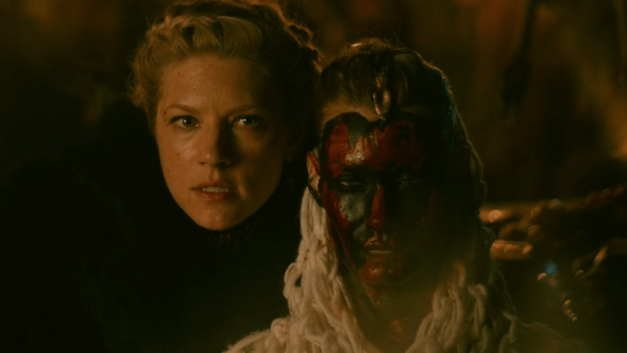 Vikings episode The Vision Lagertha with red and black paint on her face