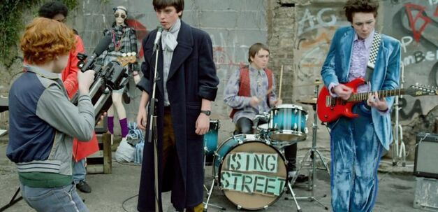 sing street band recording their first music video