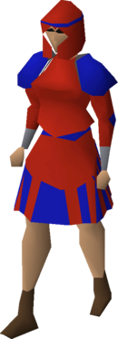 Red decorative skirt equipped