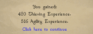 Rogues' Den reward message