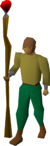 Staff of fire equipped