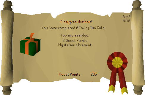 A Tail of Two Cats reward scroll