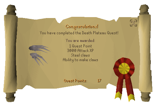 Death Plateau reward scroll
