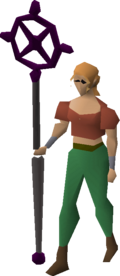 Ancient staff equipped