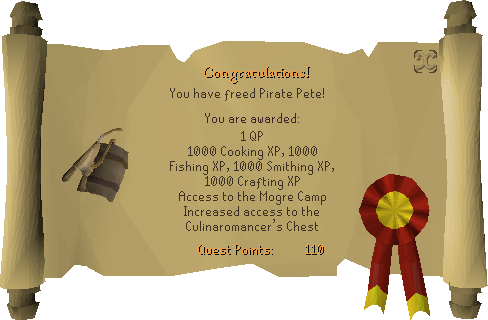 Recipe for Disaster (Freeing Pirate Pete) reward scroll