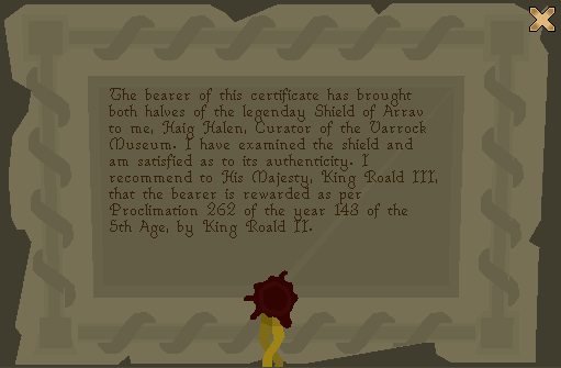 Shield of Arrav - Certificate