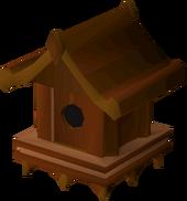 Redwood bird house detail