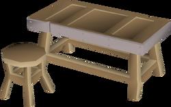 Steel framed workbench built