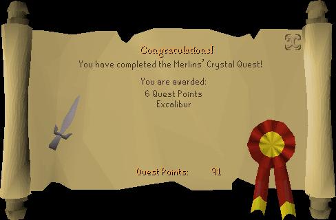 Merlin's Crystal reward scroll