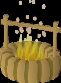 Firepit with hook built