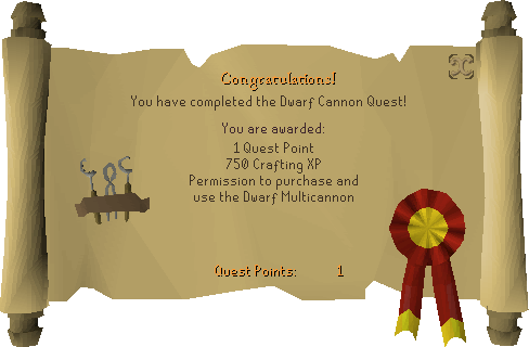 Dwarf Cannon reward scroll