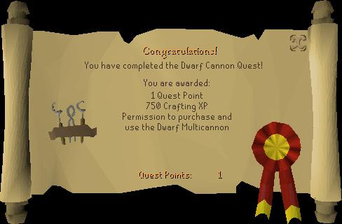 Dwarf Cannon reward scroll