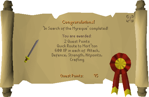 In Search of the Myreque reward scroll