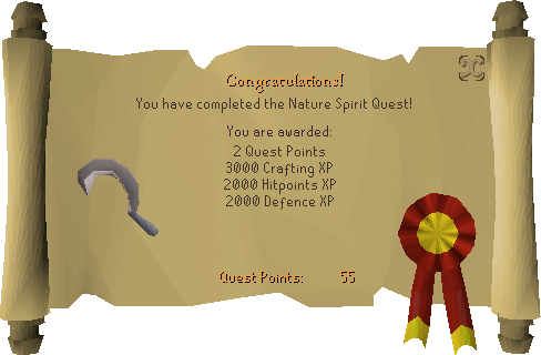 Nature Spirit reward scroll