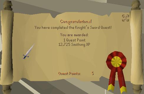 The Knight's Sword reward scroll