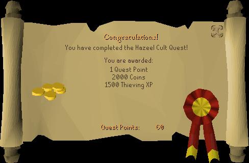 Hazeel Cult reward scroll