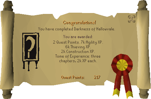 Darkness of Hallowvale reward scroll