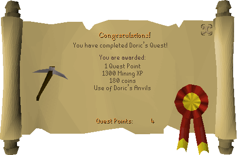 Doric's Quest reward scroll