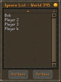 Ignore list interface