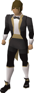 Dark tuxedo outfit equipped