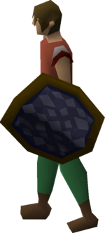 Blue d'hide shield equipped