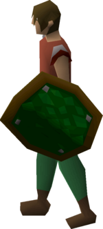 Green d'hide shield equipped