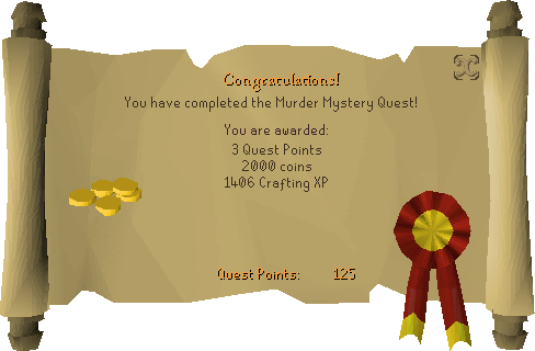 Murder Mystery reward scroll