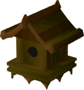 Yew bird house detail