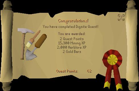 The Digsite reward scroll