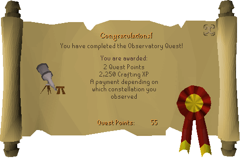 Observatory Quest reward scroll