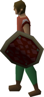 Red d'hide shield equipped