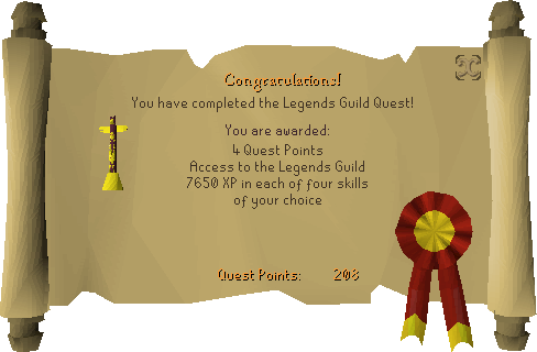 Legends' Quest reward scroll