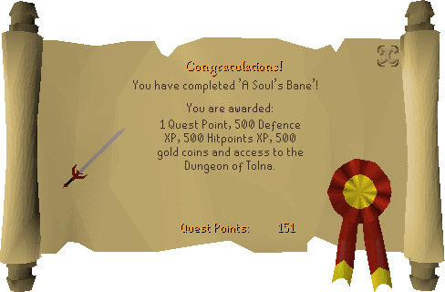 A Soul's Bane reward scroll