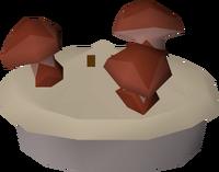 Uncooked mushroom pie detail