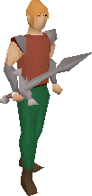 Leaf-bladed sword equipped