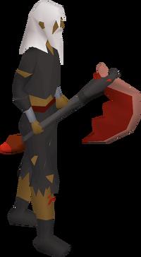 Infernal axe equipped