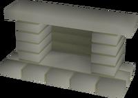Stone fireplace built
