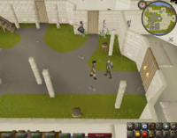 Cryptic clue - talk squire falador