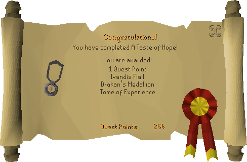 A Taste of Hope reward scroll