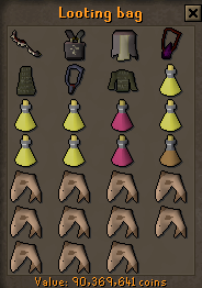 Looting bag storage interface