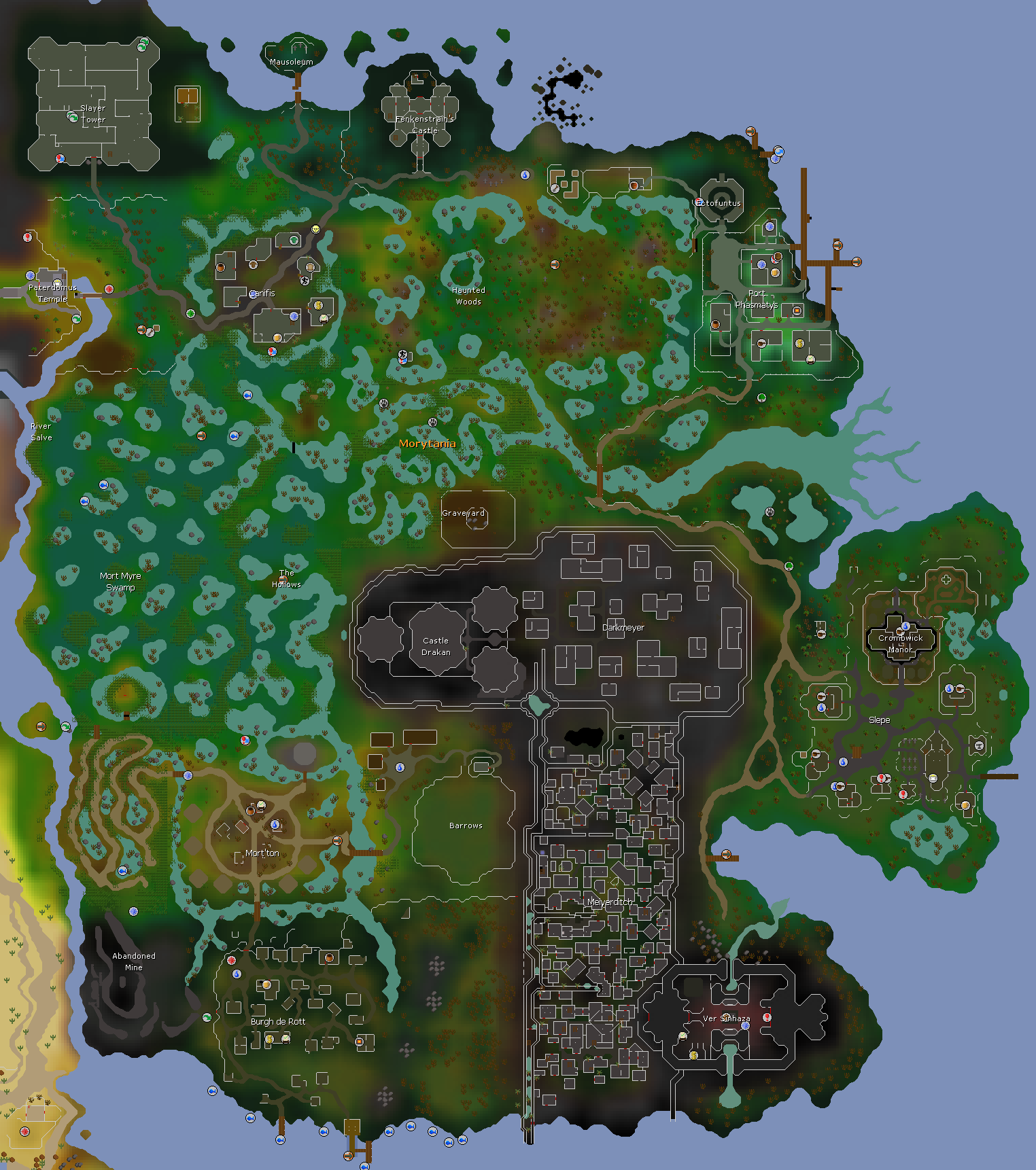 Morytania old school runescape wiki fandom powered by wikia location on world map publicscrutiny Image collections