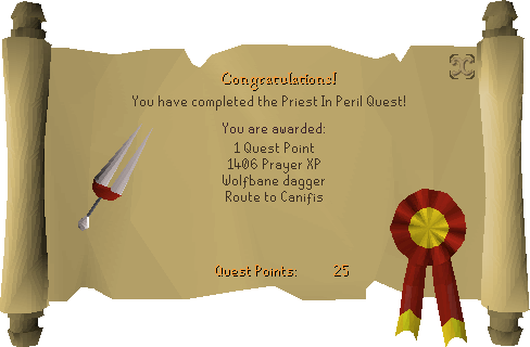 Priest in Peril reward scroll