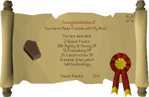 Making Friends With My Arm reward scroll
