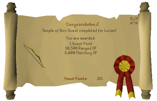 Temple of Ikov reward scroll