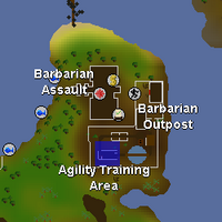 Hot cold clue - Barbarian agility course map
