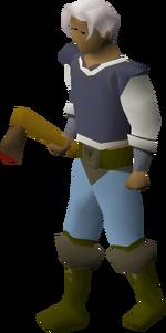 Bronze axe equipped